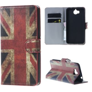 fodral till y6 2017 med brittisk flagga på, fungerar som plånbok med kortplatser och sedelficka