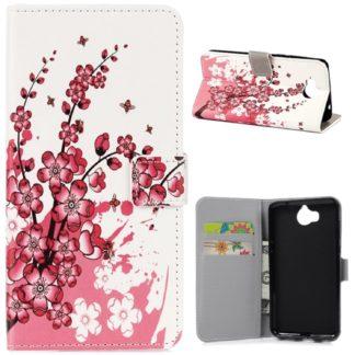 fodral till y6 2017 med rosa körsbärs blommor, fungerar som plånbok med kortplatser och sedelficka