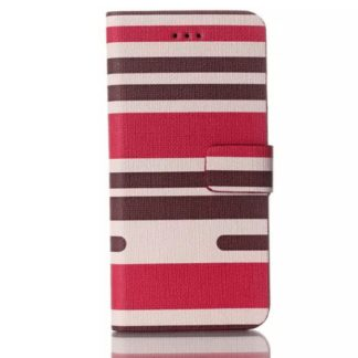 Plånboksfodral Apple Iphone 6 / 6S Plus - Linjer Rosa & Brun
