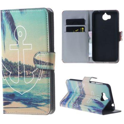 fodral till y6 2017 med ankare och tropisk ö i bakgrunden, fungerar som plånbok med kortplatser och sedelficka