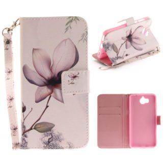fodral till y6 2017 med magnolia blomma med plånbok med kortplatser och sedelficka