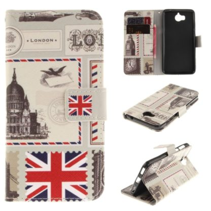 fodral till y6 2017 med london-motiv, fungerar som plånbok med kortplatser och sedelficka