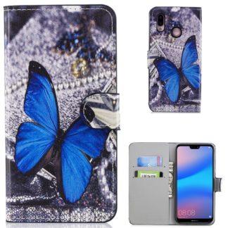 plånboksfodral till huawei p20 lite blå fjäril