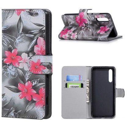plånboksfodral till huawei p20 pro, svartvit rosa blommor