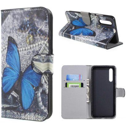 plånboksfodral till huawei p20 pro, blå fjäril