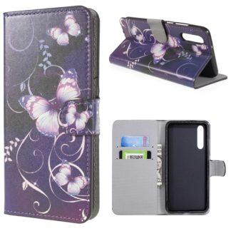 plånboksfodral till huawei p20 pro, lila med fjärilar