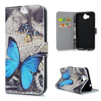 fodral till y6 2017 med blå fjäril, fungerar som plånbok med kortplatser och sedelficka