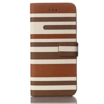 Plånboksfodral Apple Iphone 6 / 6S Plus - Linjer Mörkbrun & Brun