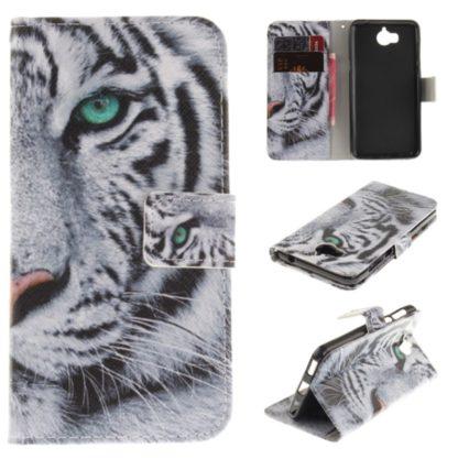 fodral till y6 2017 med motiv av vit tiger, fungerar som plånbok med kortplatser och sedelficka