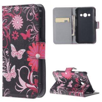 Plånboksfodral Samsung Xcover 3 (SM-G388F) - Svart med Fjärilar