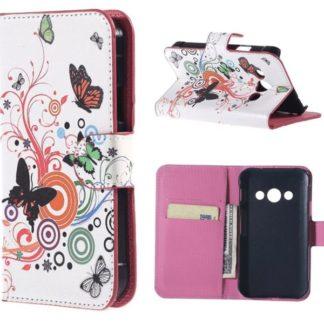 Plånboksfodral Samsung Xcover 3 (SM-G388F) - Vit med Fjärilar