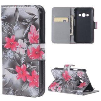 Plånboksfodral Samsung Xcover 3 (SM-G388F) – Svartvit & Blommor
