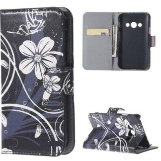 Plånboksfodral Samsung Xcover 3 (SM-G388F) – Svart med Blommor