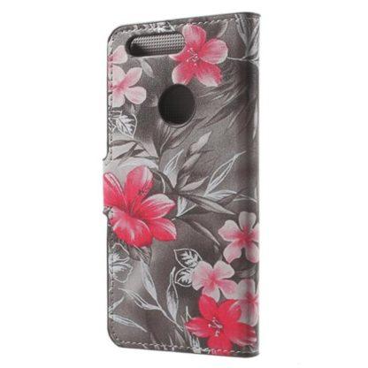 Plånboksfodral Huawei Honor 8 – Svartvit med Blommor