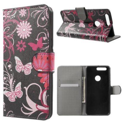 Plånboksfodral Huawei Honor 8 - Svart med Fjärilar