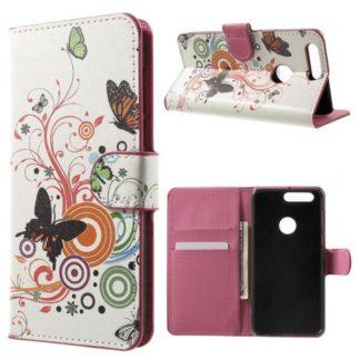 Plånboksfodral Huawei Honor 8 - Vit med Fjärilar