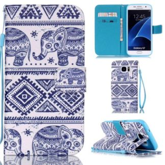 Plånboksfodral Samsung Galaxy S7 – Indiskt / Elefanter