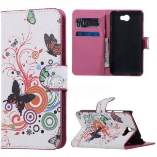 Plånboksfodral Huawei Y6 II Compact - Vit med Fjärilar