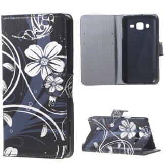 Plånboksfodral Samsung Galaxy J3 (2016) – Svart med Blommor