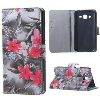 Plånboksfodral Samsung Galaxy J3 (2016) – Svartvit med Blommor