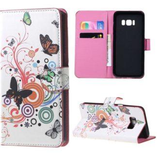 Plånboksfodral Samsung Galaxy S8 - Vit med Fjärilar