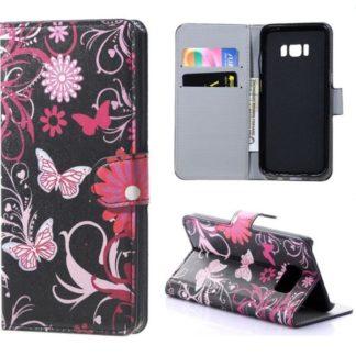 Plånboksfodral Samsung Galaxy S8 - Svart med Fjärilar