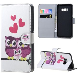 Plånboksfodral Samsung Galaxy S8 Plus – Ugglor & Hjärtan