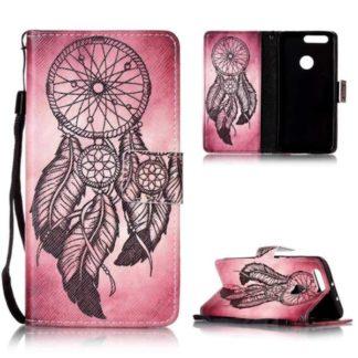 Plånboksfodral Huawei Honor 8 – Drömfångare Rosa/Röd