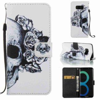 Plånboksfodral Samsung Galaxy S8 – Döskalle / Rosor