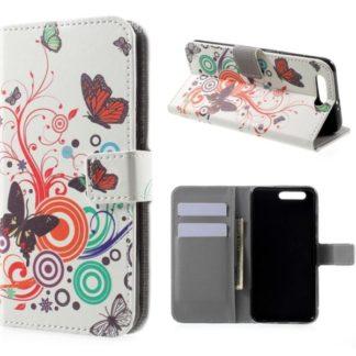 Plånboksfodral Huawei Honor 9 - Vit med Fjärilar