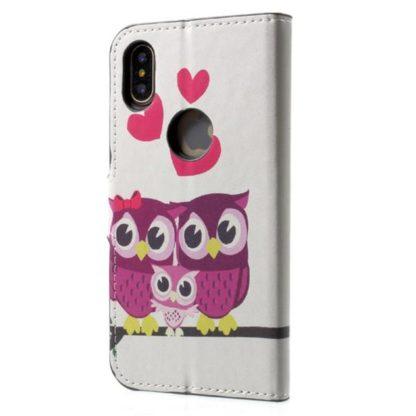 Plånboksfodral iPhone X / iPhone Xs - Ugglor & Hjärtan