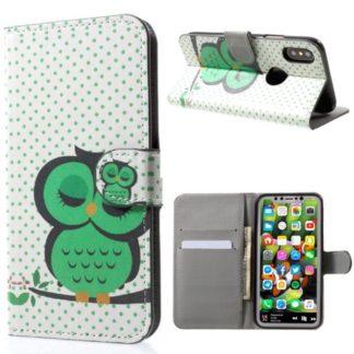 Plånboksfodral iPhone X / iPhone Xs - Prickigt med Uggla