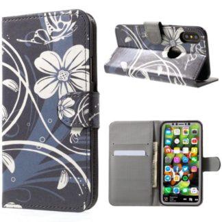 Plånboksfodral iPhone X / iPhone Xs - Svart med Blommor