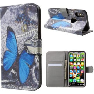 Plånboksfodral iPhone X / iPhone Xs - Blå Fjäril