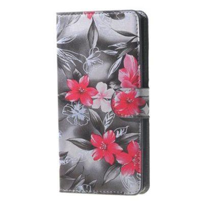 Plånboksfodral Huawei Y6 2017 – Svartvit med Blommor