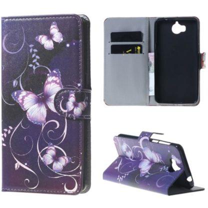 Plånboksfodral Huawei Y6 2017 – Lila med Fjärilar