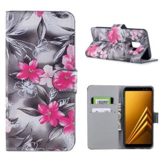 Plånboksfodral Samsung Galaxy A8 (2018) – Svartvit med Blommor
