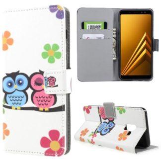 Plånboksfodral Samsung Galaxy A8 (2018) – Ugglor & Blommor