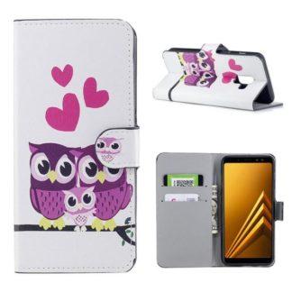 Plånboksfodral Samsung Galaxy A8 (2018) – Ugglor & Hjärtan
