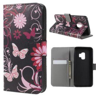 Plånboksfodral Samsung Galaxy S9 - Svart med Fjärilar