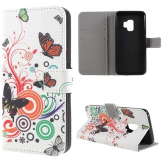 Plånboksfodral Samsung Galaxy S9 - Vit med Fjärilar