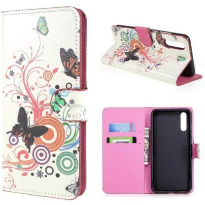 Plånboksfodral Huawei P20 - Vit med Fjärilar