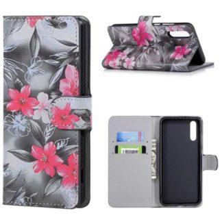 Plånboksfodral Huawei P20 – Svartvit med Blommor