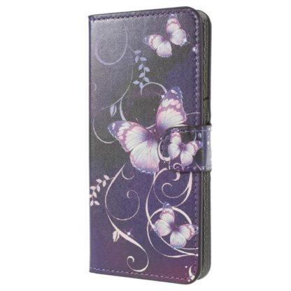 Plånboksfodral Huawei P20 – Lila med Fjärilar