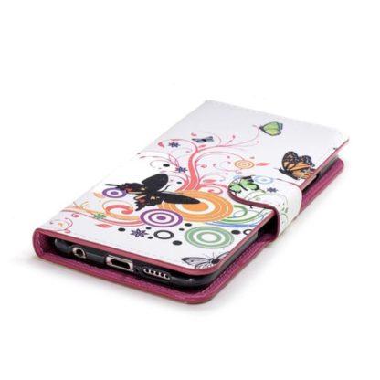 Plånboksfodral Huawei P20 Lite - Vit med Fjärilar
