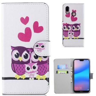 Plånboksfodral Huawei P20 Lite - Ugglor & Hjärtan