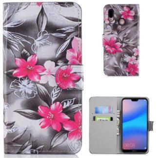 Plånboksfodral Huawei P20 Lite - Svartvit med Blommor