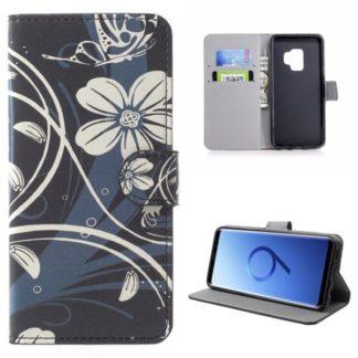 Plånboksfodral Samsung Galaxy S9 – Svart med Blommor