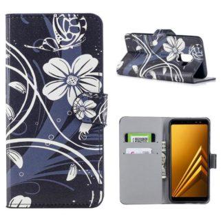Plånboksfodral Samsung Galaxy A6 Plus - Svart med Blommor