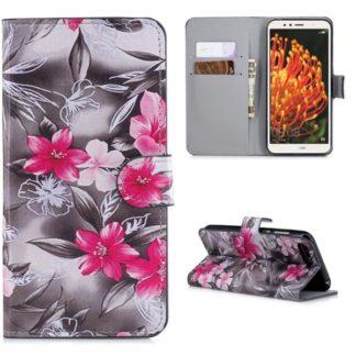 Plånboksfodral Huawei Y6 2018 - Svartvit med Blommor